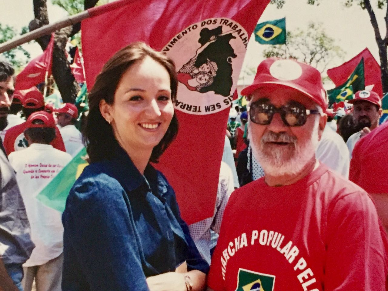 Thais with her dad at a MST demonstration