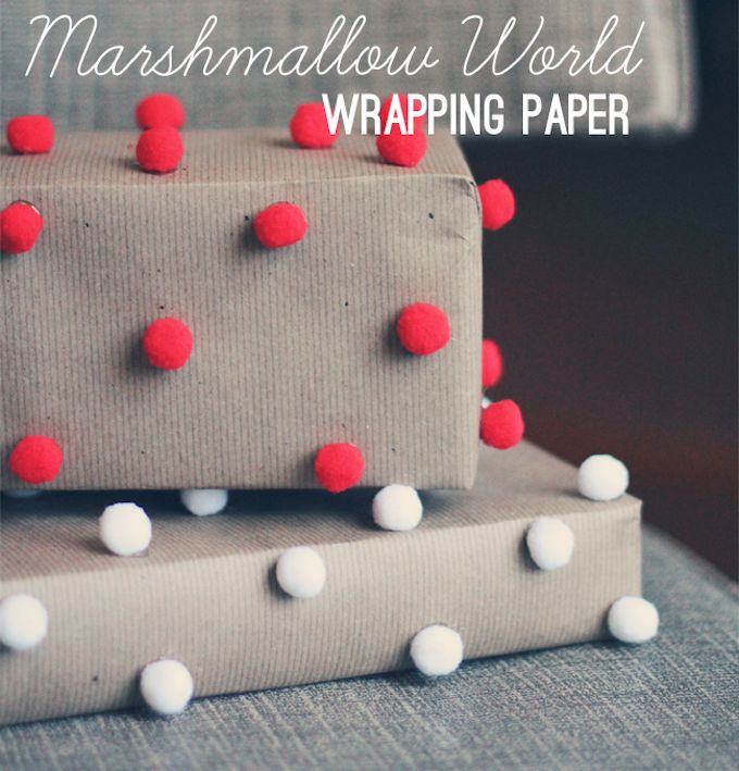 Marshmallow World Pom pom gift wrap