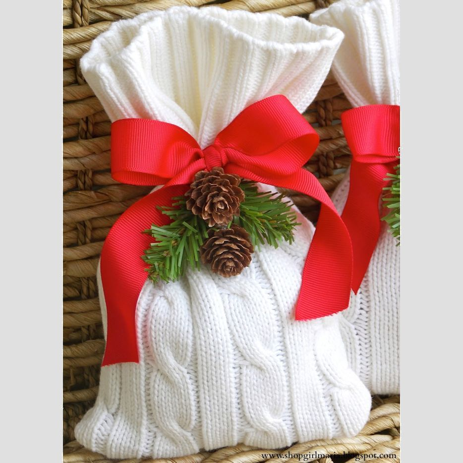 Upcycled Sweater Gift Bags Lets Wrap Stuff