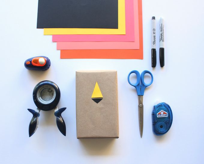 brown paper package and colorful paper