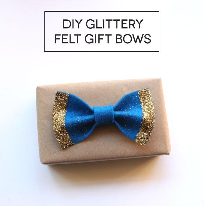 DIY Glittery Felt Gift Bows