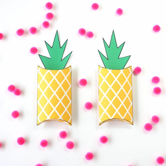 DIY pineapple pillow boxes printable