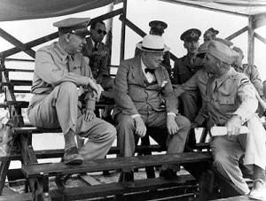 Marshall with Churchill at Ft Jackson, June 1942