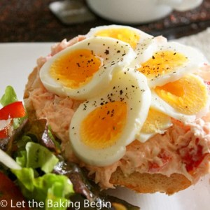 Toasted Sesame Bun with Salmon and Egg