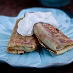 Meat Stuffed Crepes Crisped up in Butter