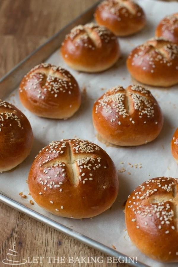 Golden Buttery Sesame Burger Buns - Let the Baking Begin!