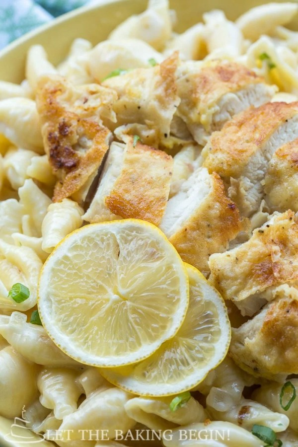 Chicken Tenders w/ Creamy Garlic Pasta Shells - perfect dinner in 30 minutes or less. By LetTheBakingBeginBlog.com   @Letthebakingbgn