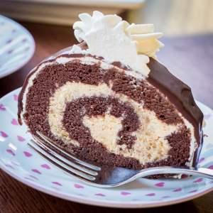 Chocolate Roll with Walnuts & Dulce de Leche Buttercream