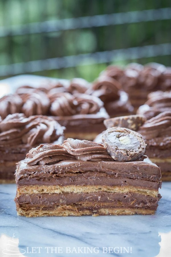 Nutella Napoleon - flaky layers of puff pastry filled with nutty Nutella cream - a decadent dessert that's  easy to make. | @Letthebakingbgn | LetTheBakingBeginBlog.com