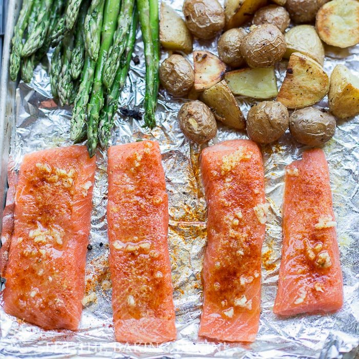 Potato Salmon and Asparagus One Pan Dinner {Clean, Easy & Delicious}