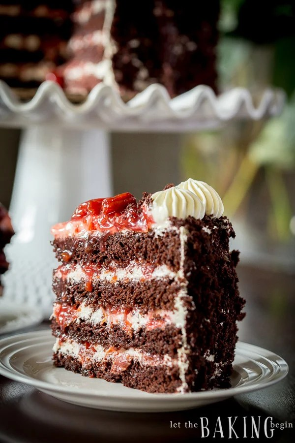 Black Forest Cake - Layers of chocolate cake, sweetened heavy whipping ...