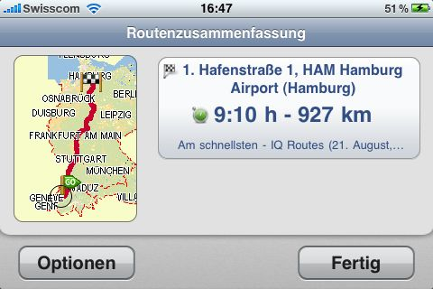 Routenzusammenfassung TomTom iPhone