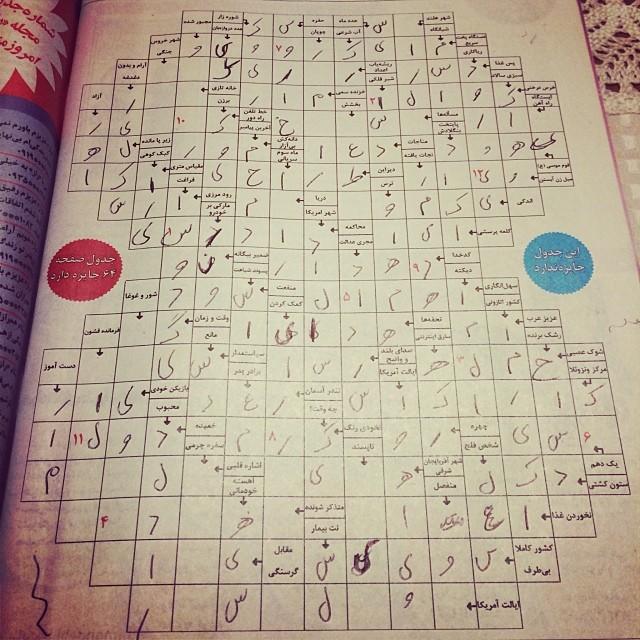 همیشه پز جدول حل کنی میدادم. خدایش خیلی هم خوب بودم. الان دارم جدول حل میکنم، مثل خر گیر کردم بین کلمات فارسی و انگلیسی. میگه یتیمخانه، مینویسم اورفنیج! حالم بد شد از اینکه اینقدر سواد فارسی ام ته کشیده