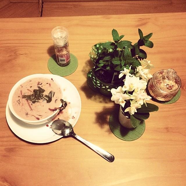 آش دوغ و چغندر تازه  yogurt and fresh beet soup