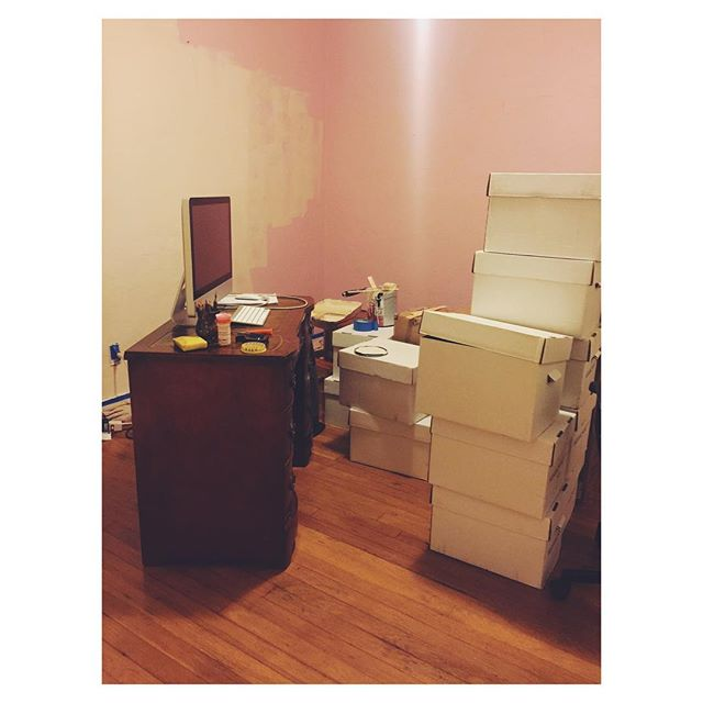 Home office make over in progress! (I like pink, but seriously?! Pink walls?) #elcerritohome