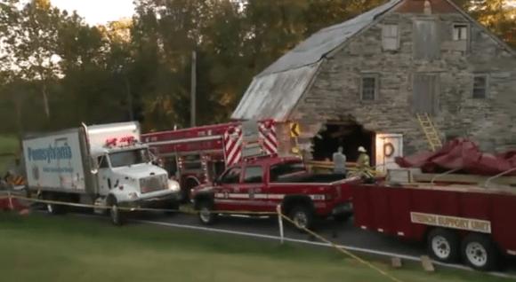Minivan Driven By Levittown Man Crashes Through Barn