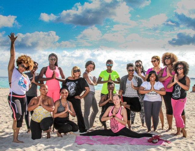 Beauty Getaway guests woke up early Sat morning for a beach yoga session - Miami Beach 1.25