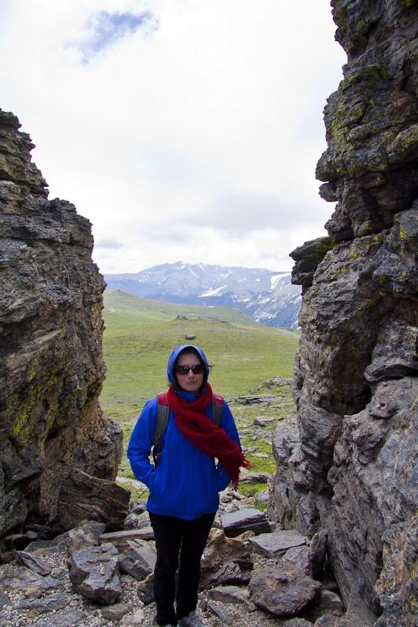 Renee Walking Through Alpine Rocks