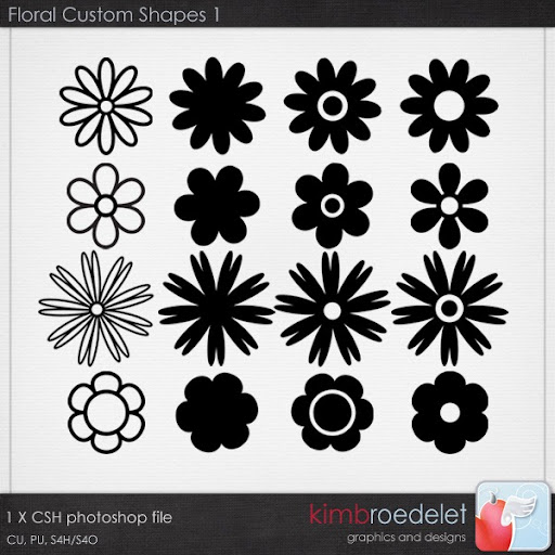basic fun floral CSH photoshop shapes