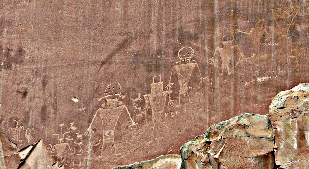 Ancient Fremont Rock Carving Close Up - Capitol Reef National Park