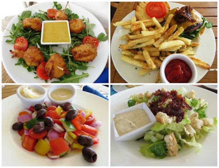 conch fritter bb burger greek salad ceasar
