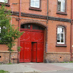 """AN entrance gate (""""einfart"""") painted red."""