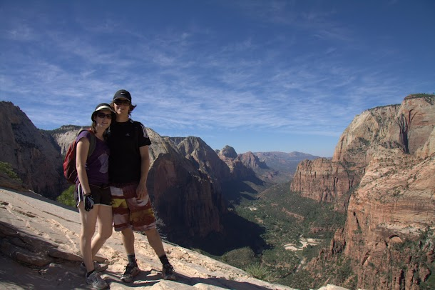Renee and I (Looking Down Zion Canyon) from the Top of Angels Landing