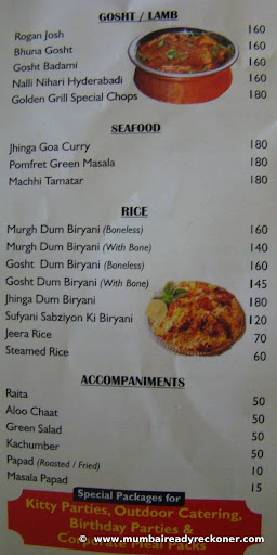 Golden Grill - Bandra menu