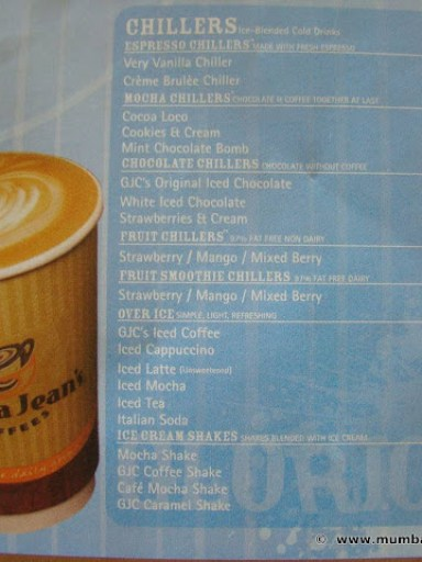 Gloria Jeans Coffees menu
