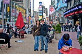 V and M at Time Square