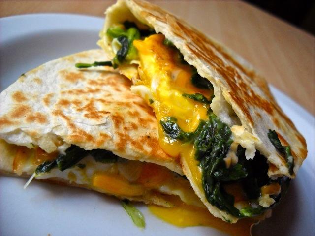 Egg Florentine Quesadilla