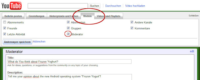 Das YouTube-Interface für Google Moderator