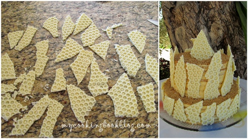 Как да направите декорацията пчелна пита от бял шоколад