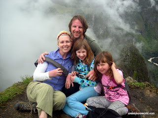 Family shot at the top of Wayna Picchu