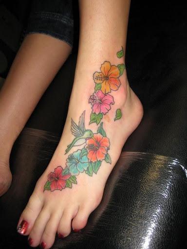 flower tattoo on foot
