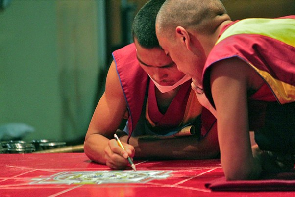 tibetan monks make sand drawing mandala, monks making a mandala in mcleodganj, dalai lama temple