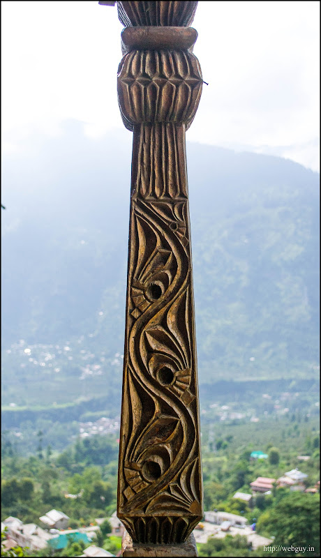 wood-carvings on the pillars Naggar Castle verandah