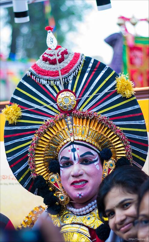 Karnatic dancer dressed in traditional facial make up - Bangalore