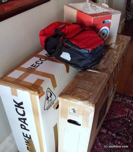 Surly Long Haul Trucker in a Qantas box, Extrawheel Voyager and gear in the other box, plus my kickbox and Ortlieb Sports-Plus pannier role playing as hand luggage.