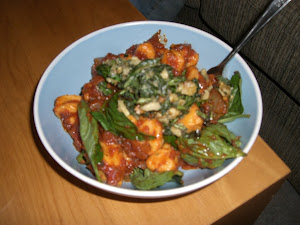 nathan is a bigtime chef and he whipped me up this sweet potatoe gnocchi topped with a walnut pesto. Oh it was so good