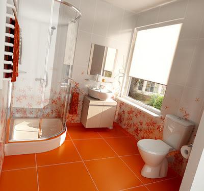 Aksen Oranye Pada Kamar Mandi Putih