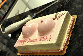 Buttercream boobs and electric knife for the 'surgery'