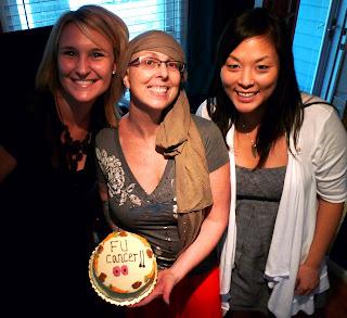 AH HA HA HA HA HA. Kasey, Betty and Trish with the 'Fuck You' cake.