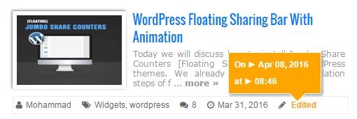 recent posts widget with tooltip