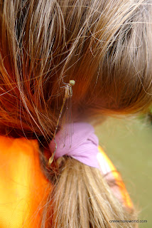 A dragonfly on Emma's hair.