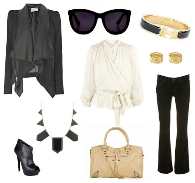 Elizabeth and James Drape Front Jacket, The Row Sunglasses, Hermes Bracelet, Gorjana Ring, Chloe Wrap Front Nude Blouse, J Brand Black Flare Jeans, Balenciaga Nude Bag, House of Harlow Necklace, Steve Madden Peep-Toe Bootiees