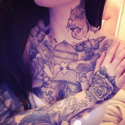 love birds tattoo on chest