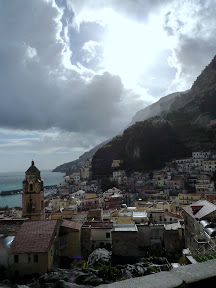 The weather provides dramatic backdrop to the Amalfi coast.
