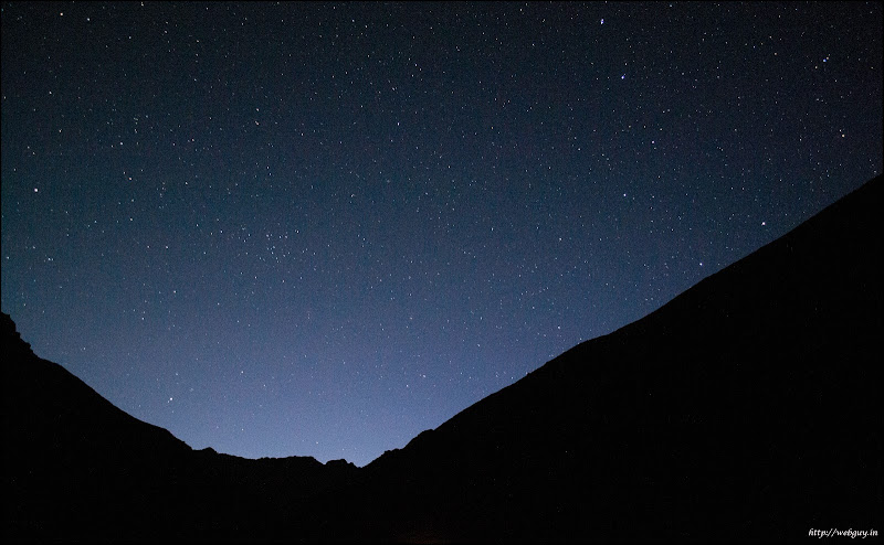 Clear and starry sky in the Himalayas