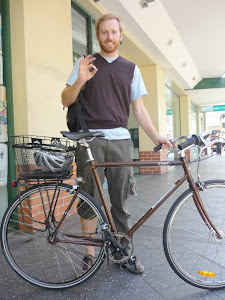 Matt's 2008 Lager - Nitto North Road bars, Topeak rack and basket, 32mm Schwalbe tyres. Matt evolved to a 3 speed hub.